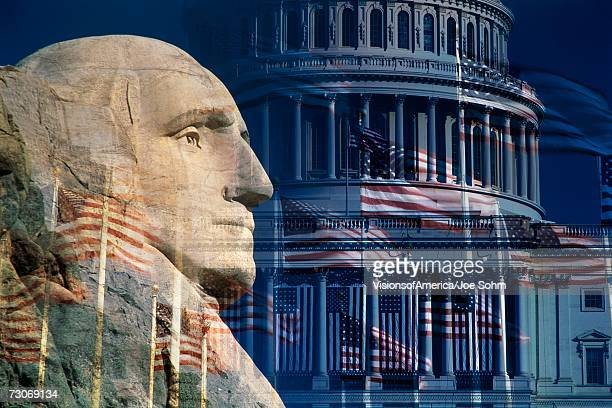 """""""Digital composite: George Washington, the U.S. Capitol and American flags """""""