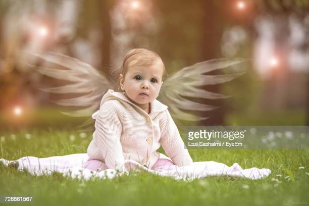 Digital Composite Image Of Baby With Wings While Sitting On Grassy Field