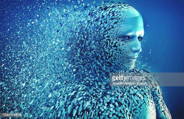 digital composite image of bursting robot against blue background - artificial intelligence stock pictures, royalty-free photos & images