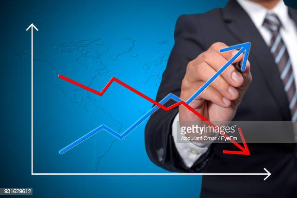 Digital Composite Image Of Businessman Standing By Graph Chart