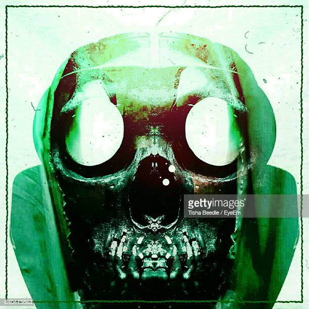 Digital Composite Image Of Gas Mask And Human Skull