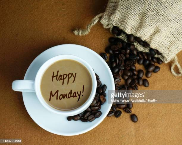 Digital Composite Image Of Happy Monday Text On Coffee At Table