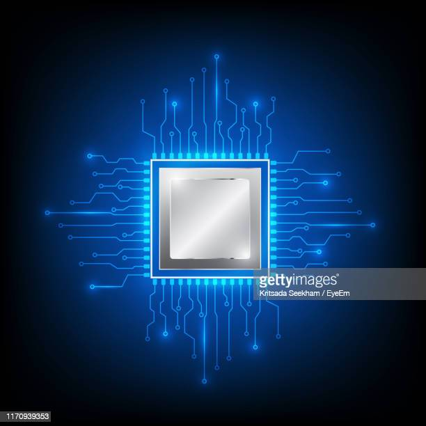 digital composite image of illuminated circuit board against black background - circuit board stock pictures, royalty-free photos & images