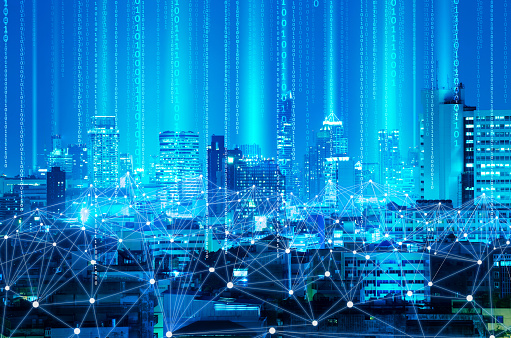 Digital Composite Image Of Illuminated Cityscape With Binary Numbers At Night - gettyimageskorea
