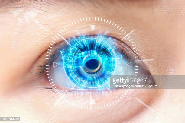 digital composite image of interface with human eye - the eyes have it stock pictures, royalty-free photos & images