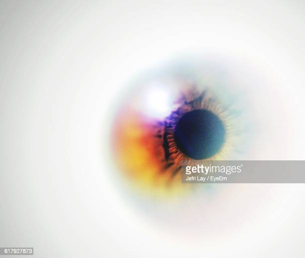 digital composite image of iris against white background - eyesight stock photos and pictures