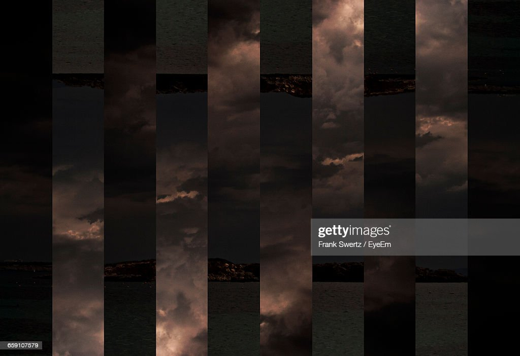 Digital Composite Image Of Lake Against Cloudy Sky : Stock-Foto
