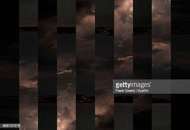 digital composite image of lake against cloudy sky - frank swertz stockfoto's en -beelden