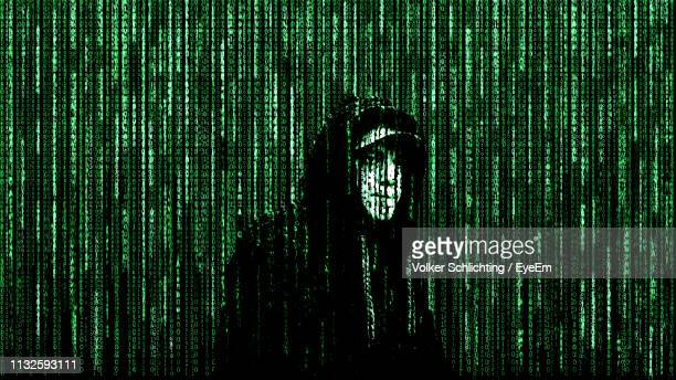 digital composite image of man and binary code - binary code stock pictures, royalty-free photos & images