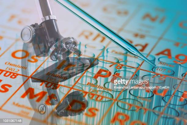 digital composite image of periodic table over microscope and test tubes - eye test chart foto e immagini stock