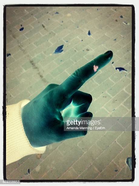 Digital Composite Image Of Person Pointing Finger