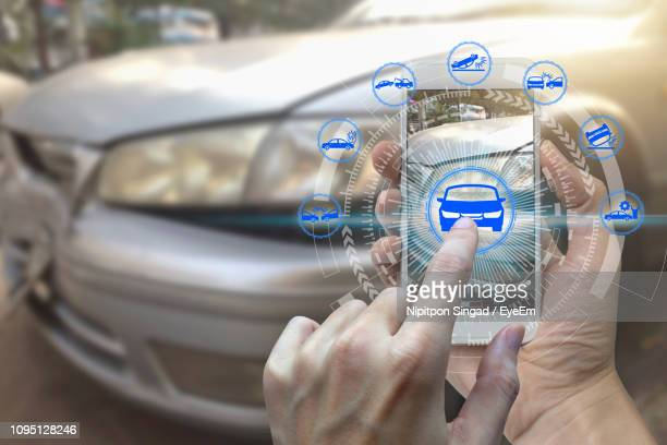 Digital Composite Image Of Person Using Smart Phone