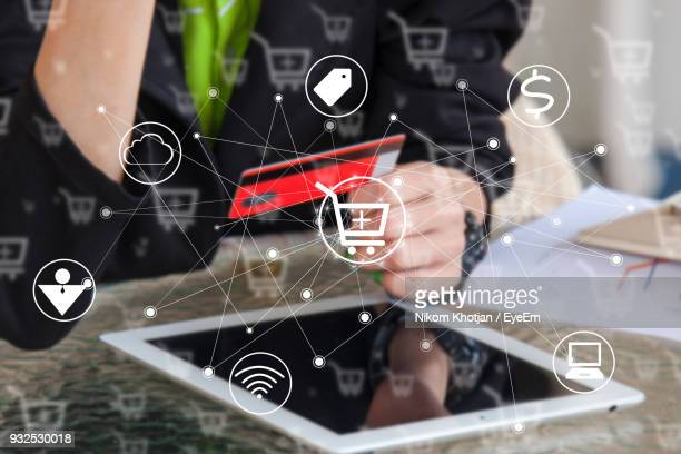 Digital Composite Image Of Person With Credit Card And Digital Tablet By Icons