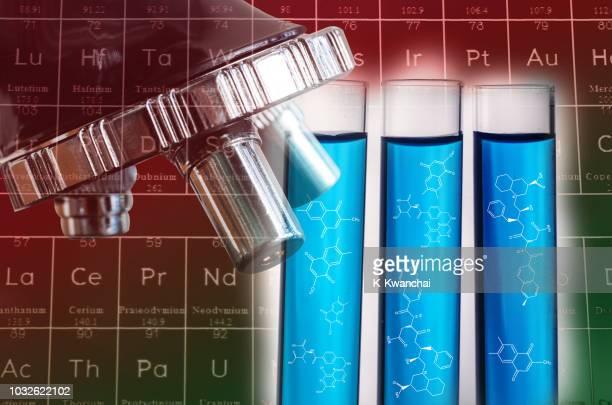 digital composite image of scientific experiment - eye test chart foto e immagini stock