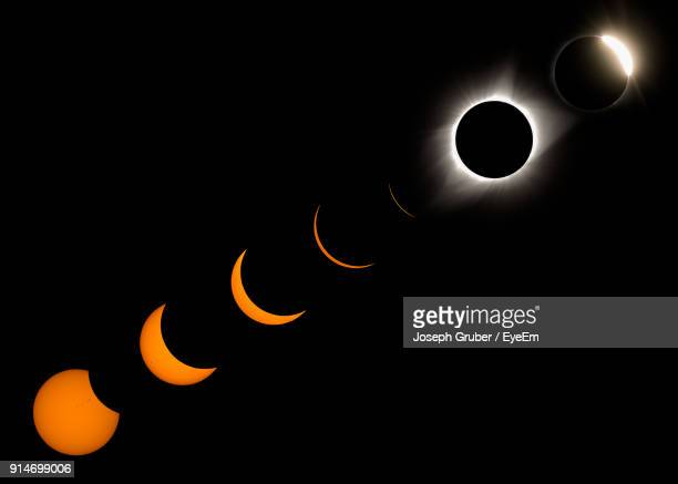 digital composite image of solar eclipse - annular solar eclipse stock pictures, royalty-free photos & images