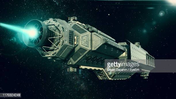 digital composite image of space craft in sky - space travel vehicle stock pictures, royalty-free photos & images