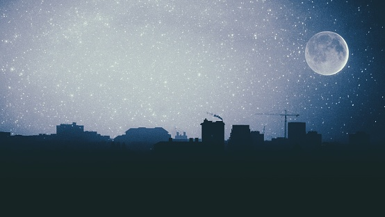 Digital Composite Image Of Star Field Over Silhouette Cityscape - gettyimageskorea
