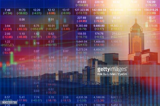 Digital Composite Image Of Stock Market Data And City