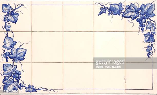 digital composite image of white wall and tiled floor - traditionally portuguese stock pictures, royalty-free photos & images