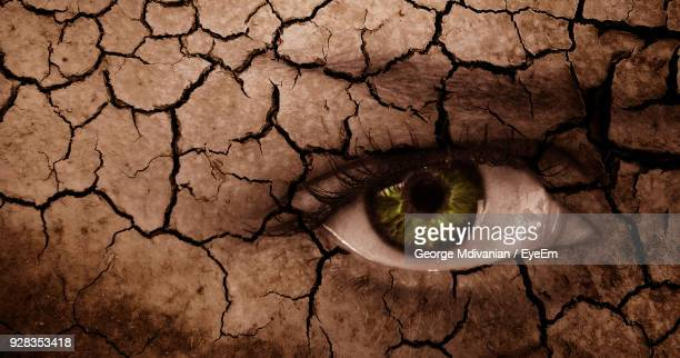 digital composite image of woman and drought land - arid climate stock pictures, royalty-free photos & images
