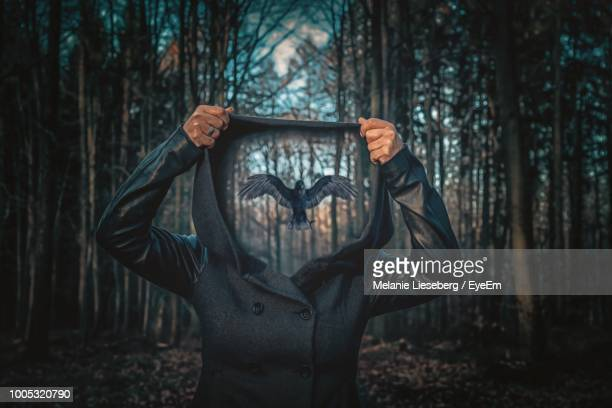 digital composite image of woman holding hood with pigeon flying in forest - hood clothing stock photos and pictures