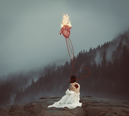 Digital Composite Image Of Woman With Burning Heart Sitting On Rock In Forest During Foggy Weather - gettyimageskorea