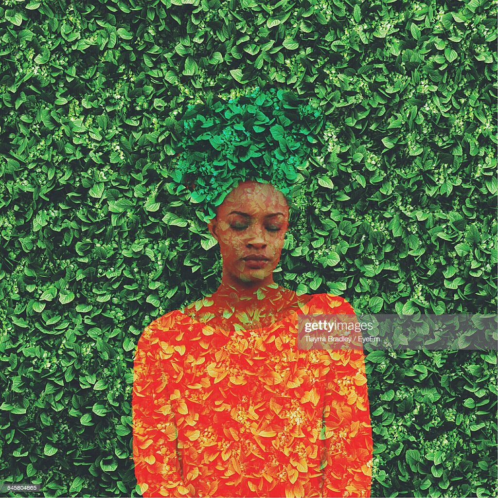 Digital Composite Image Of Young Woman With Ivy Pants : Stock Photo