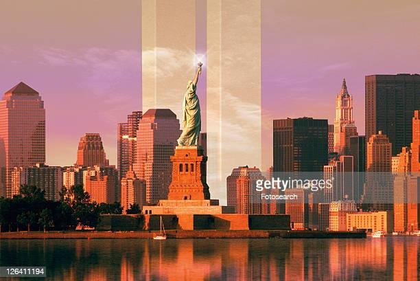 Digital composite: New York skyline, World Trade Center, Statue of Liberty