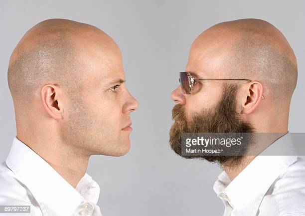 A digital composite of a man looking at himself