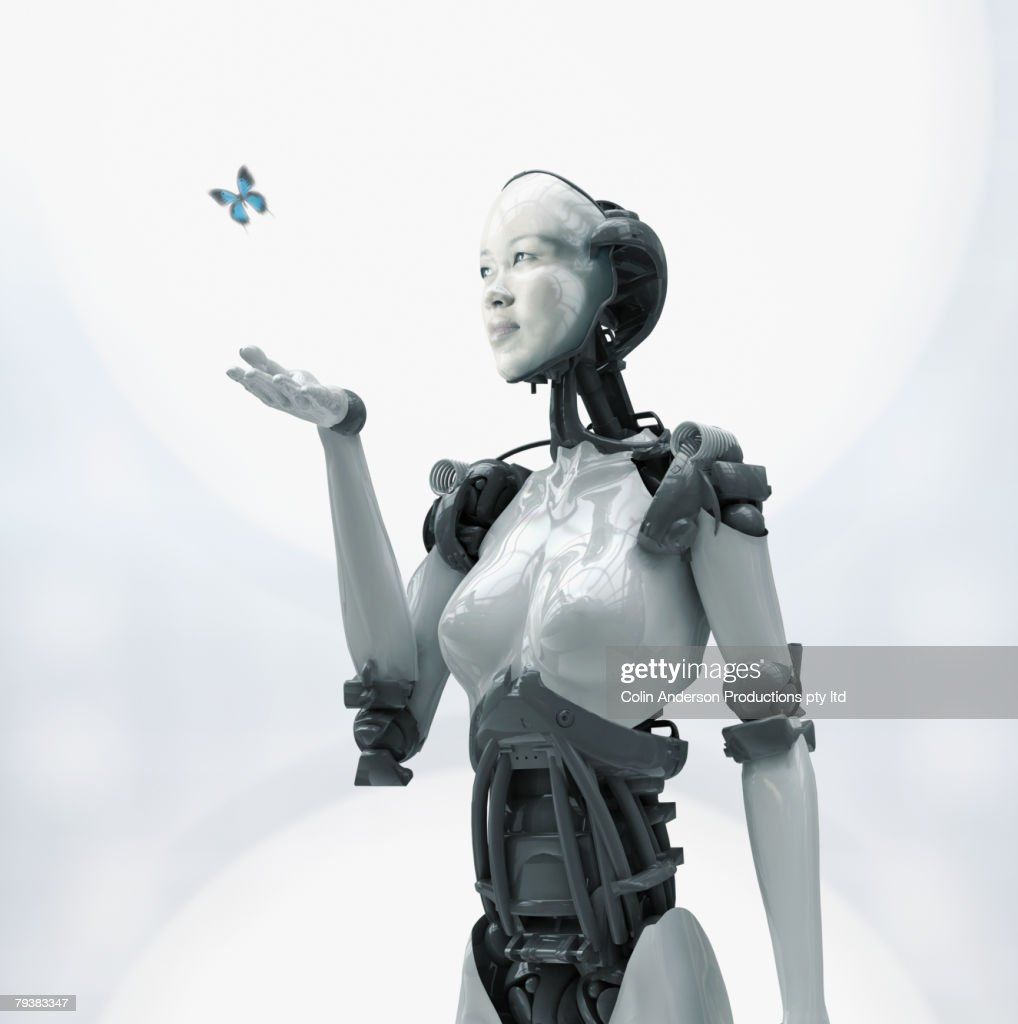 Digital composite of Asian woman's face on robot : Stock Photo