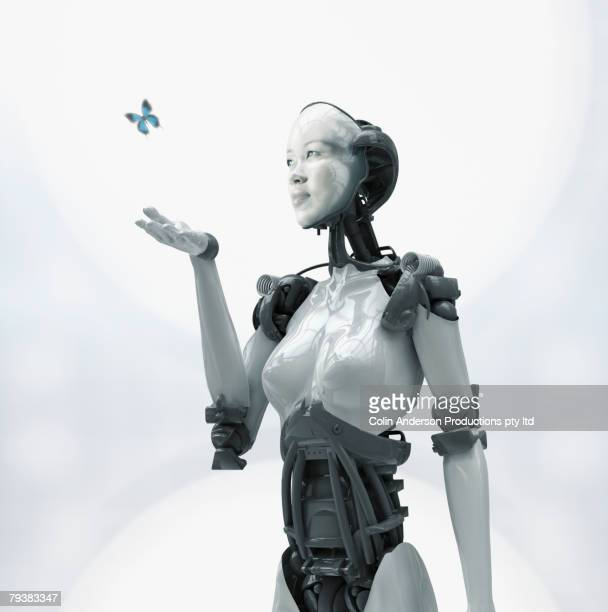 digital composite of asian woman's face on robot - robô - fotografias e filmes do acervo
