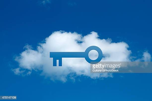 Digital composite of cloud with key shape cut out, secure cloud commitment