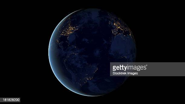 digital composite of earth's city lights at night, centered over the atlantic ocean. visible are parts north and south america, europe, and africa. - europa continente foto e immagini stock