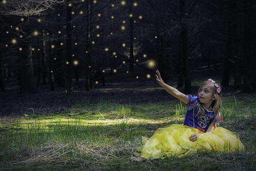 Digital Composite Of Girl In Snow White Costume Sitting On Grassy Field With Hand Raised Against Fireflies - gettyimageskorea