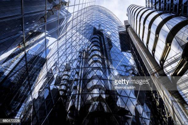 digital composite of modern london architecture - london financial district stock photos and pictures