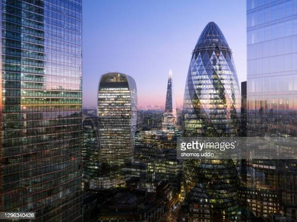 digital composite of modern london skyscrapers - elevated view - london stock pictures, royalty-free photos & images