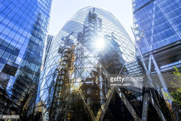 Digital composite of modern London skyscrapers