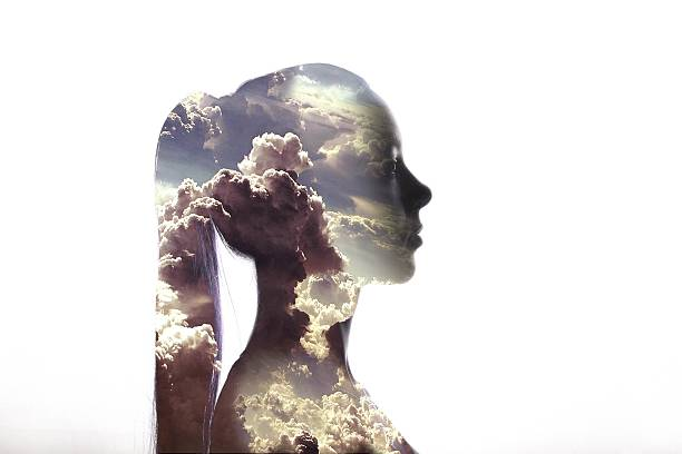 Digital Composite Of Woman And Cloudy Sky Against White Background Wall Art