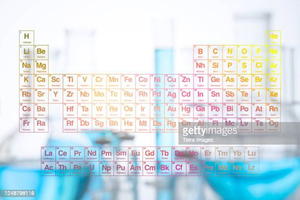 digital composite with periodic table and laboratory glassware - physical structure stock pictures, royalty-free photos & images