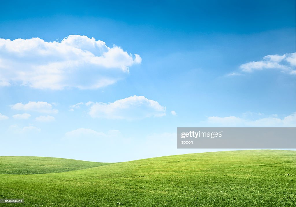 Digital composition of green meadow and blue sky : Stock Photo