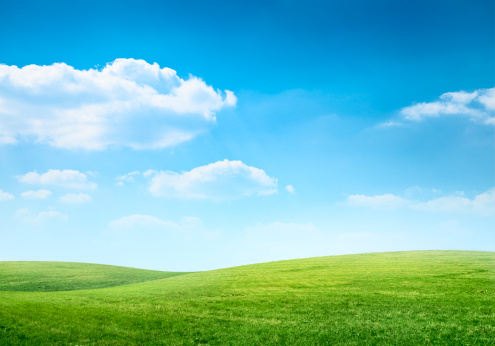 Digital composition of green meadow and blue sky 154930429