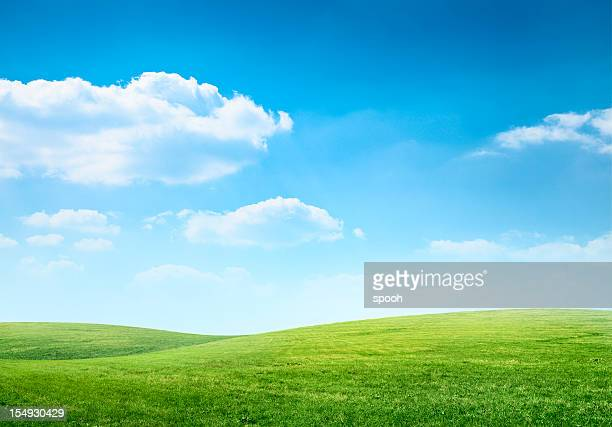 digital composition of green meadow and blue sky - blue stock pictures, royalty-free photos & images