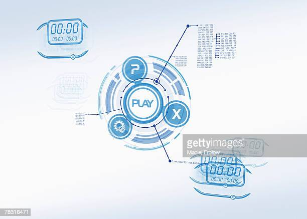 digital concept diagram - play button stock photos and pictures