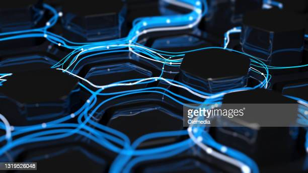 digital concept networking and big data - blockchain stock pictures, royalty-free photos & images