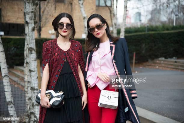 Digital Coordinator at Matthew Williamson and fashion blogger Anisa Sojka wears a Motchi coat H and M dress Gucci bag and Miu Miu sunglasses with...