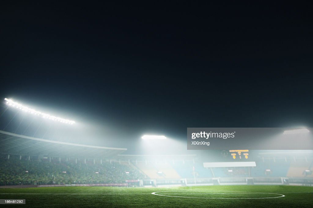 Digital coposit of soccer field and night sky : Stock-Foto