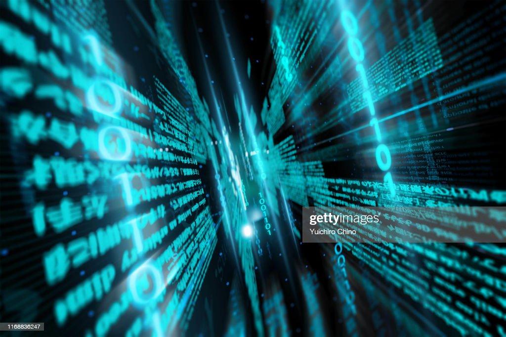 Digital data and binary code in network : Foto stock
