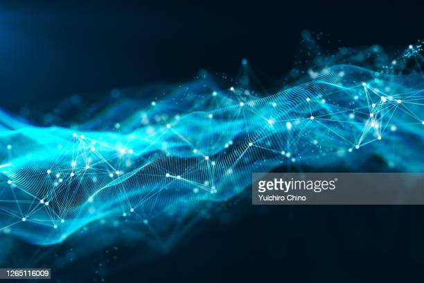 digital data of particle wave and network connection - data stock pictures, royalty-free photos & images