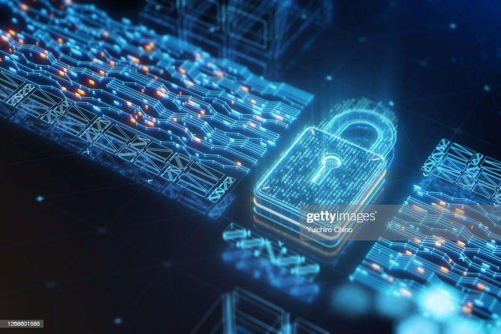 Digital data security padlock with binary code : Stock Photo