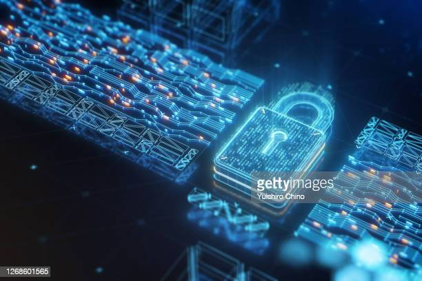 digital data security padlock with binary code - criminalità informatica foto e immagini stock